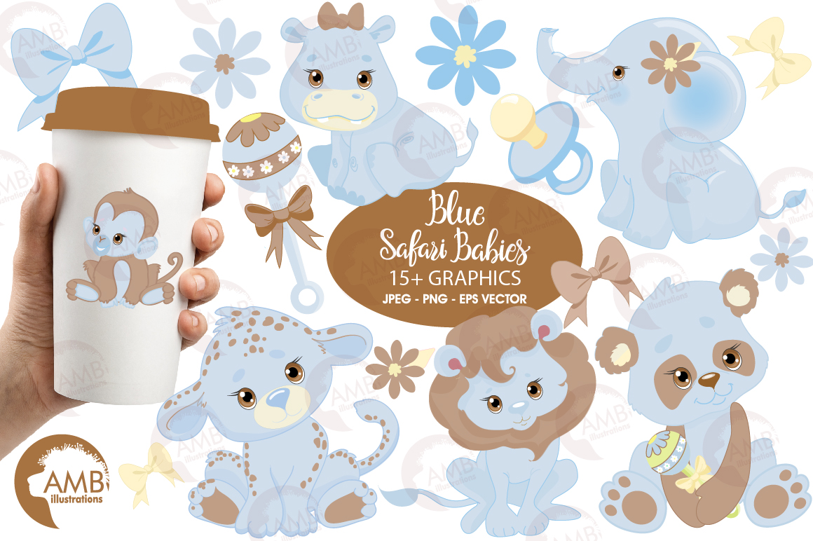 Blue Jungle Babies clipart, AMB-1211 example image 1