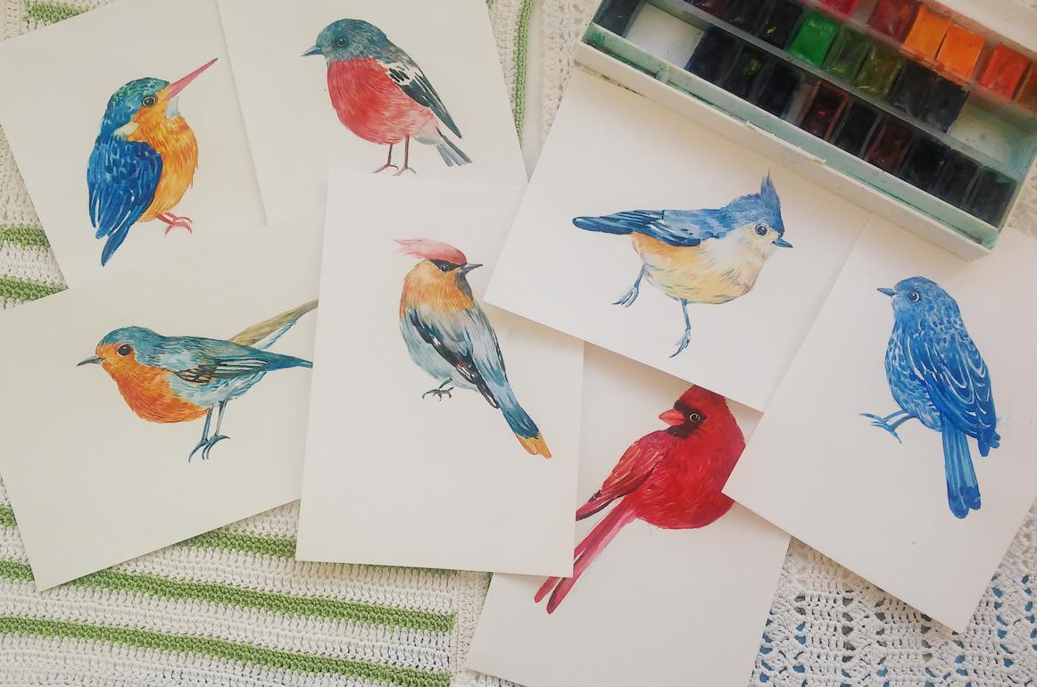 30 little birds.watercolor example image 3