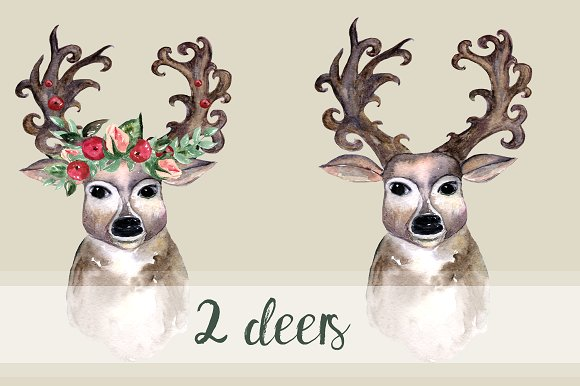 Oh, deer! - Watercolor Clip Art Set example image 3