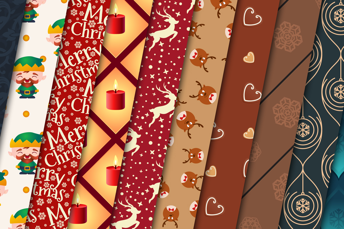 100 Christmas Seamless Patterns example image 11