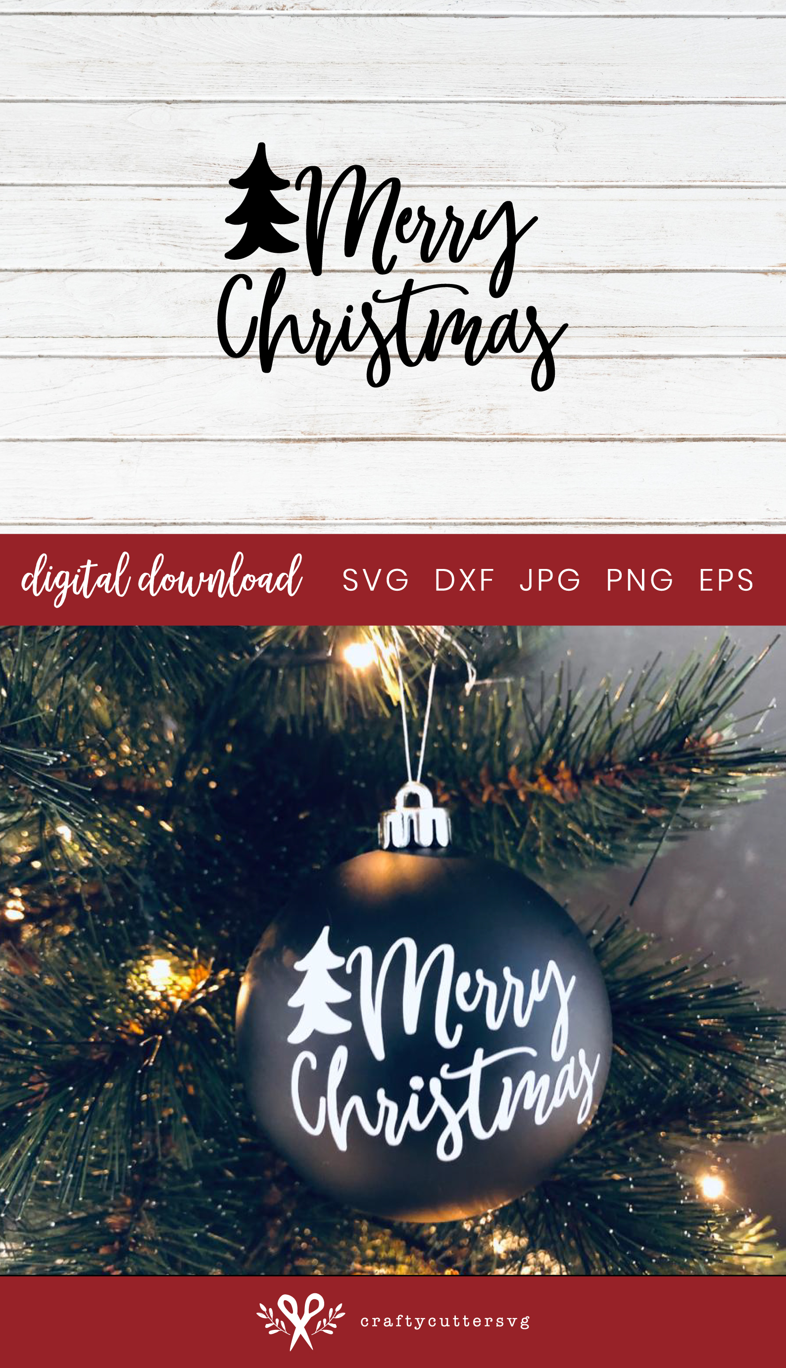 Christmas Ornaments Merry Christmas Tree Cut File example image 3