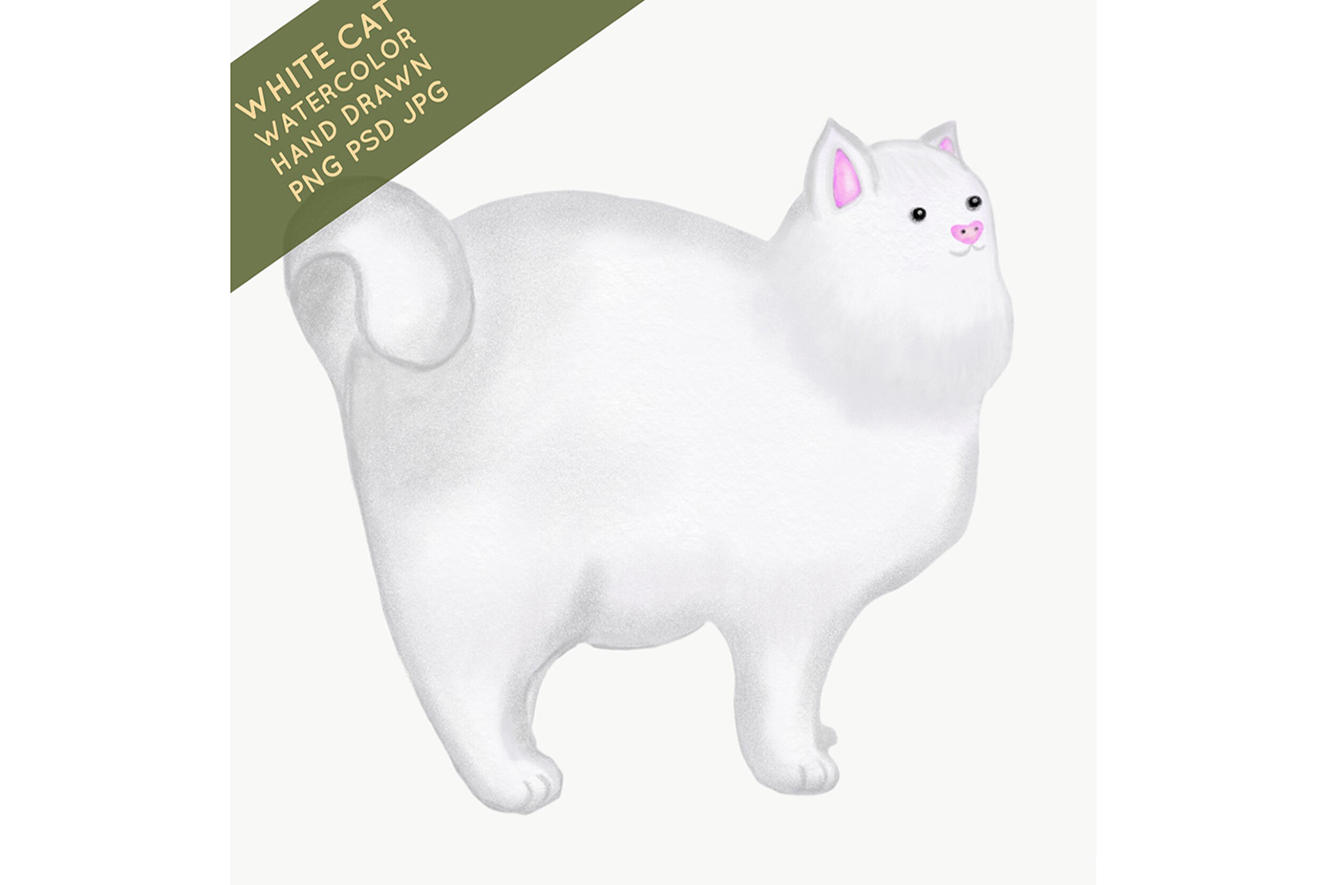 white cat watercolor hand drawn example image 1