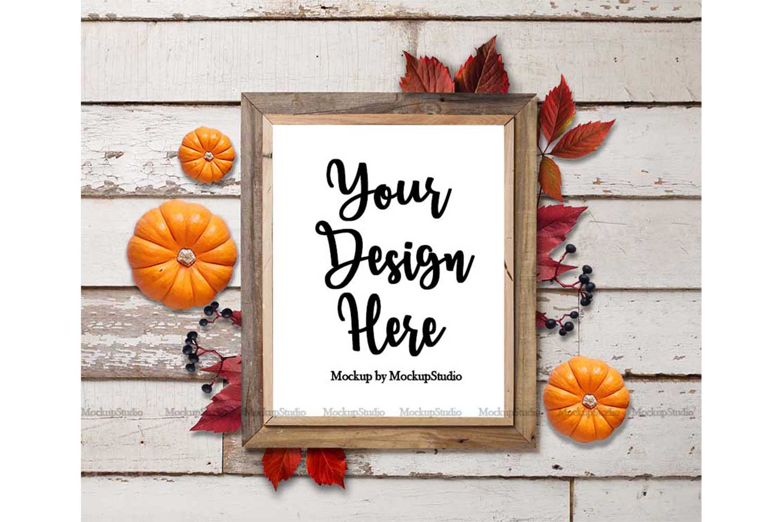Fall Frame Mockup Bundle, Halloween Wood Sign Mock Up Set example image 6