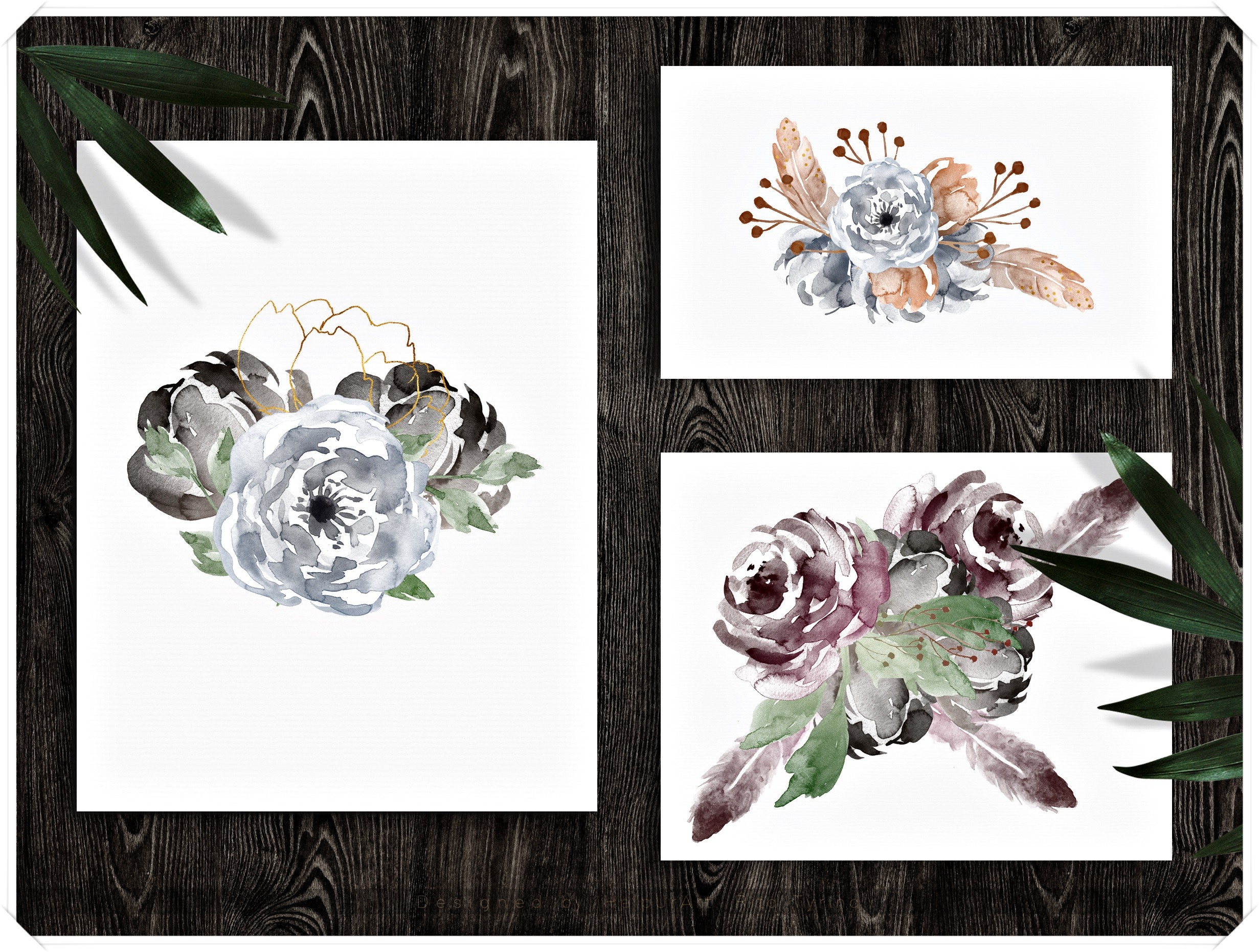 Watercolor Boho Flowers Design Bundle example image 2