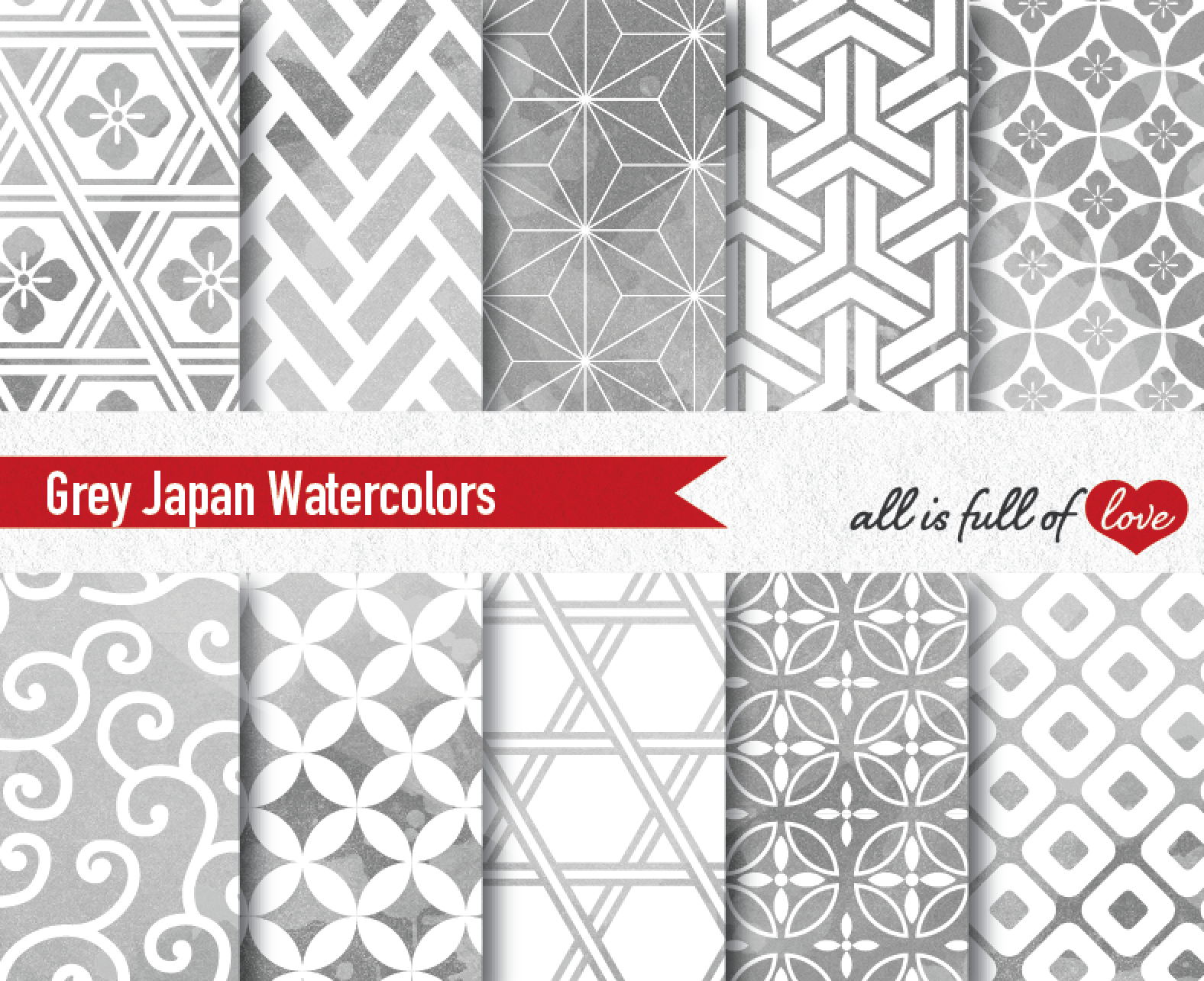 Grey Digital Paper Japanese Watercolor Background Patterns Gray example image 1