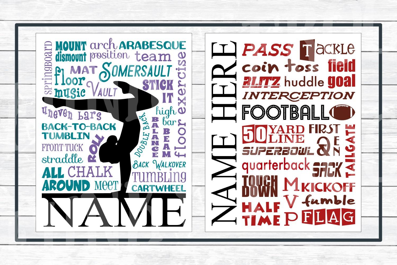 Sports Subway Art Design Bundle SVG Cut Files,PNG Printables example image 5