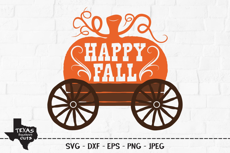 Happy Fall SVG, Cut File, Fall Shirt Design, Pumpkin Harvest example image 1