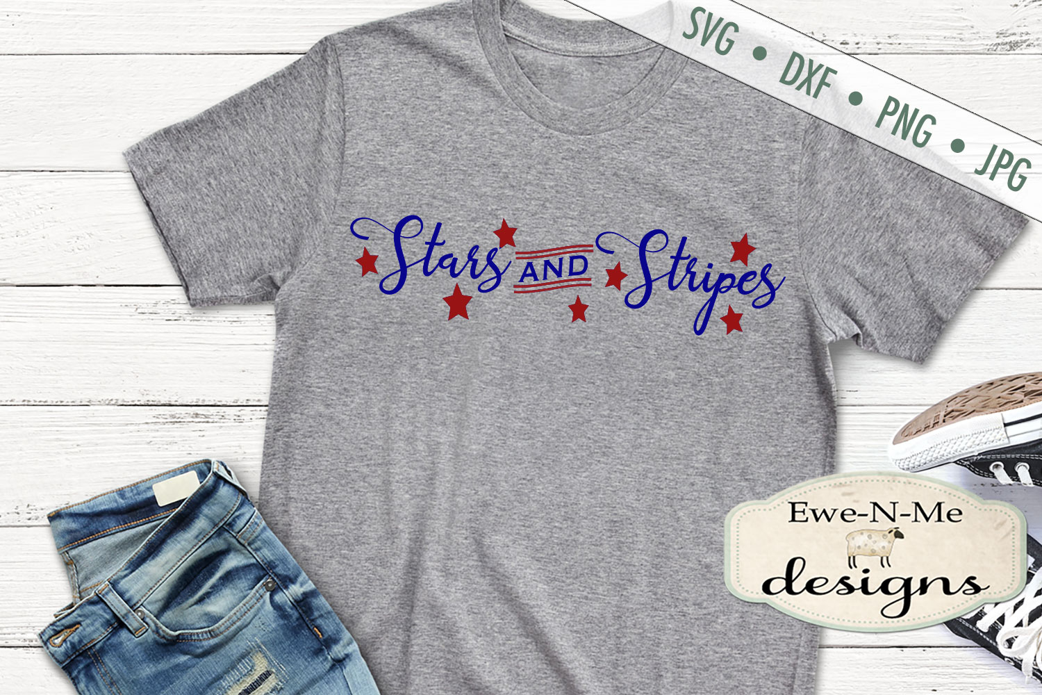 Stars and Stripes - Patriotic July 4th SVG DXF Files example image 3