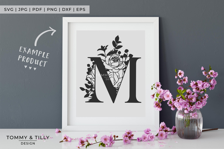 M Bouquet Letter Design - Paper Cut SVG EPS DXF PNG PDF JPG example image 7