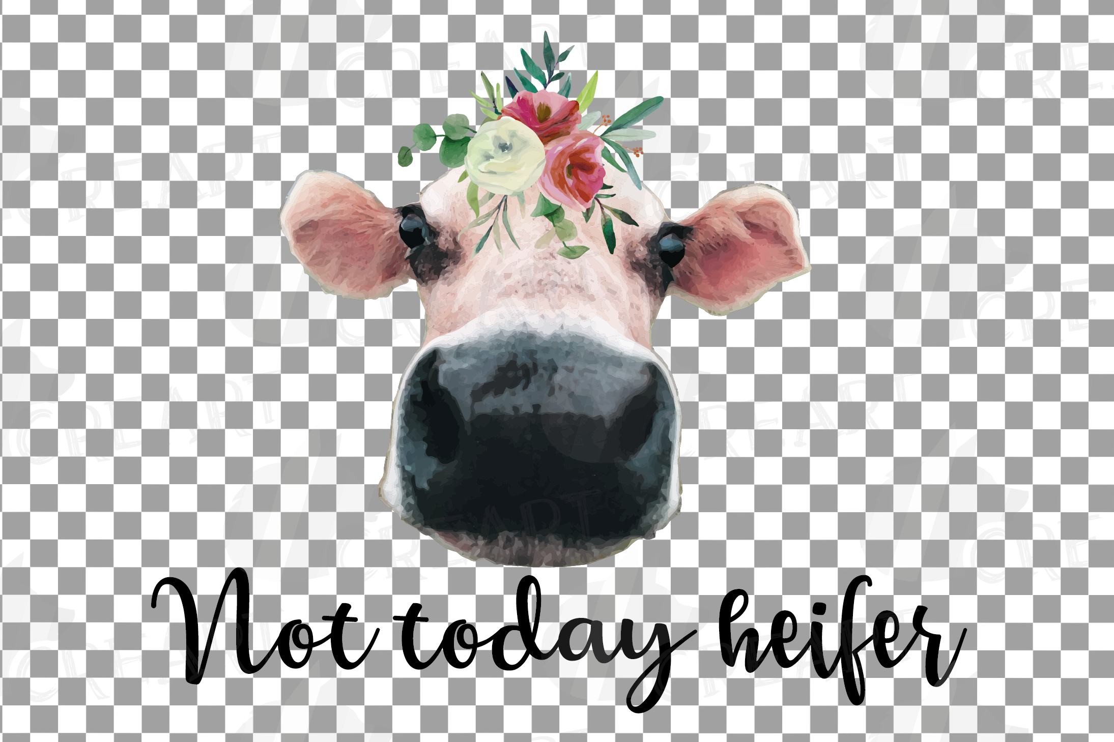 Cows with floral crown clip art. Not today heifer graphic example image 9