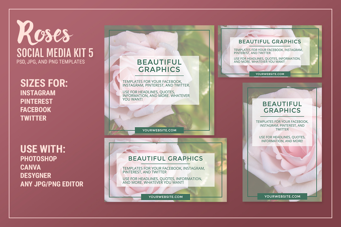 Roses Social Media Kit Bundle example image 7