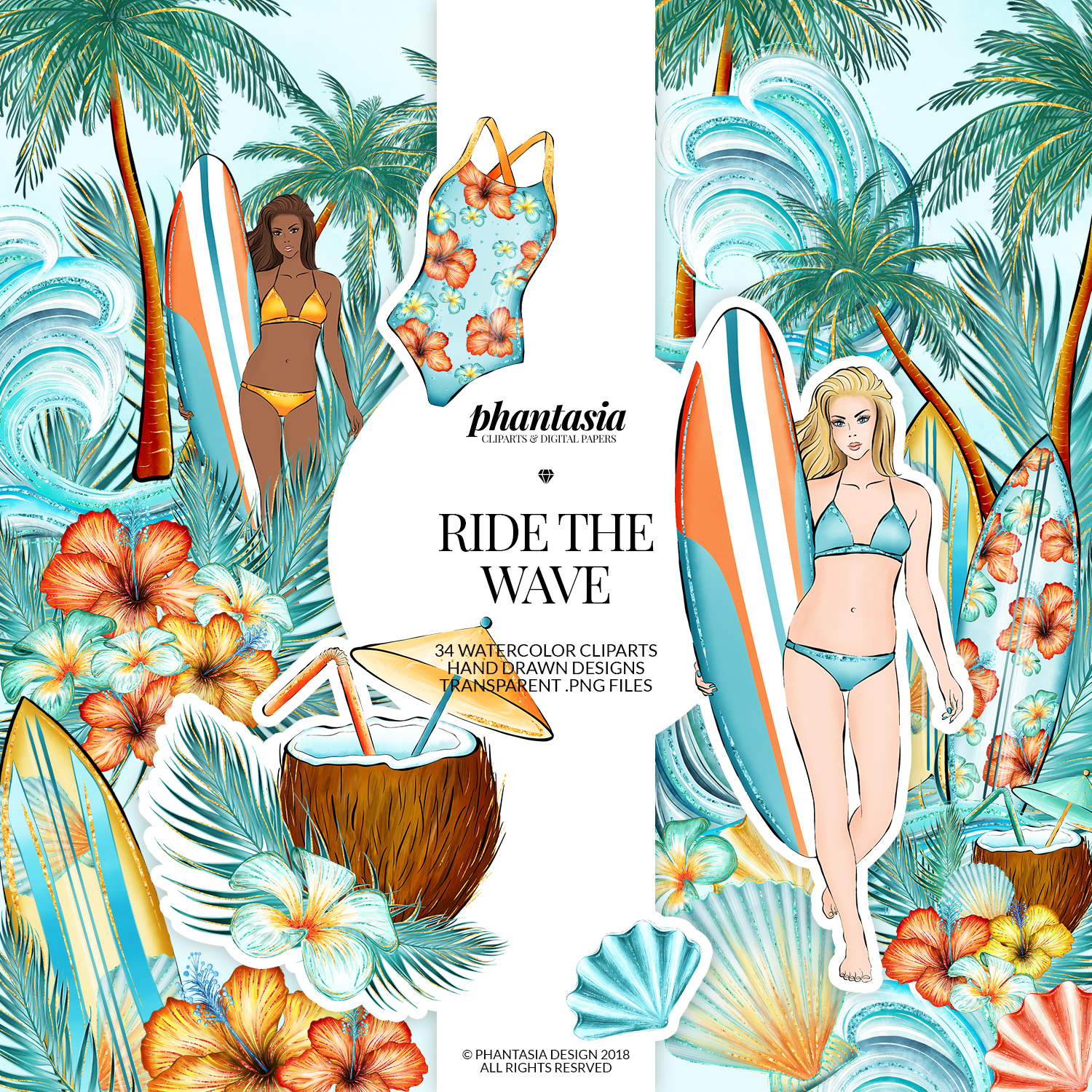 Surfer Girl Cliparts example image 1