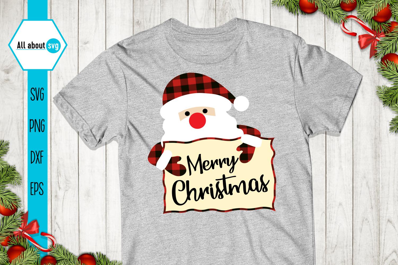Merry Christmas Svg, Santa Claus Buffalo Plaid Svg example image 2