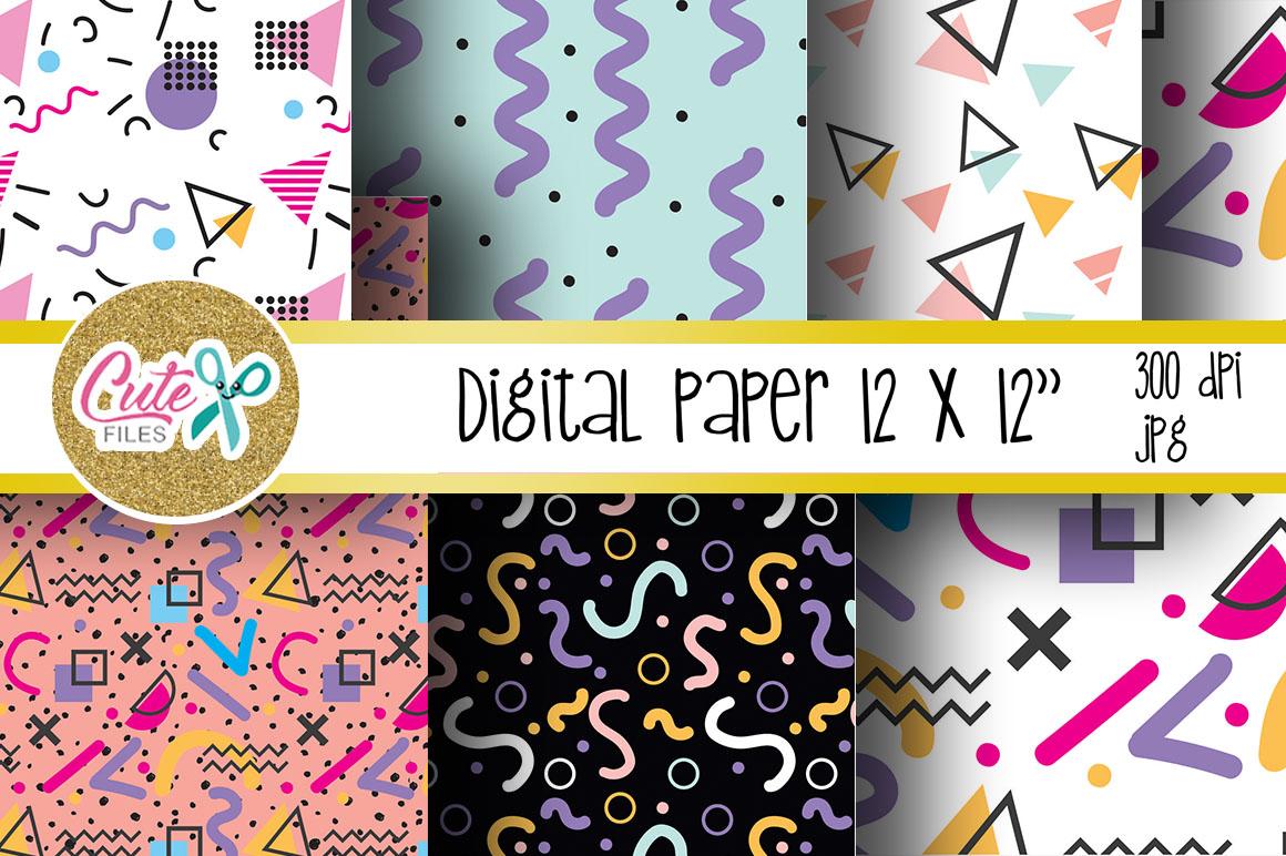 Retro Digital Paper, colorful digital paper example image 3