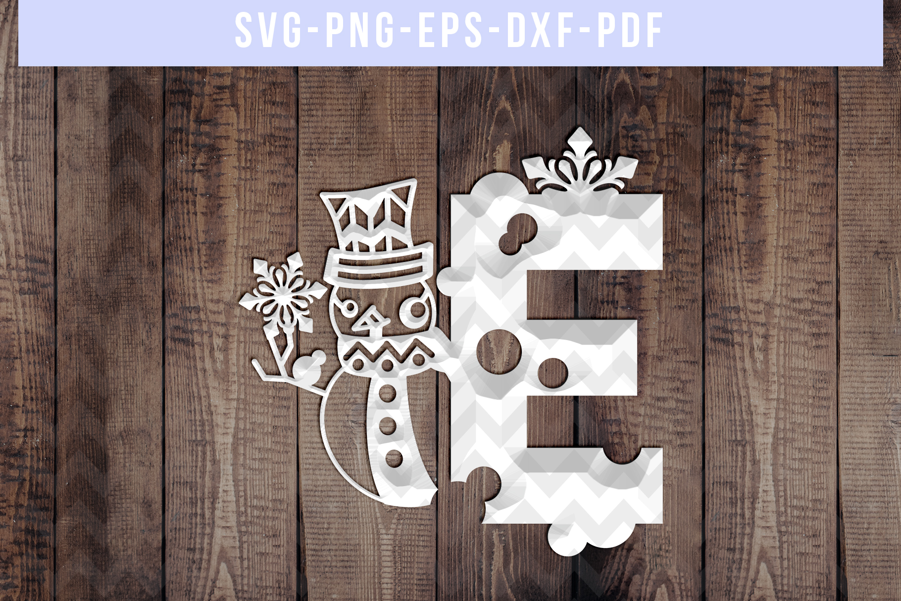 Snowman Font E Paper Cut Template, Winter Cutting SVG, DXF example image 2