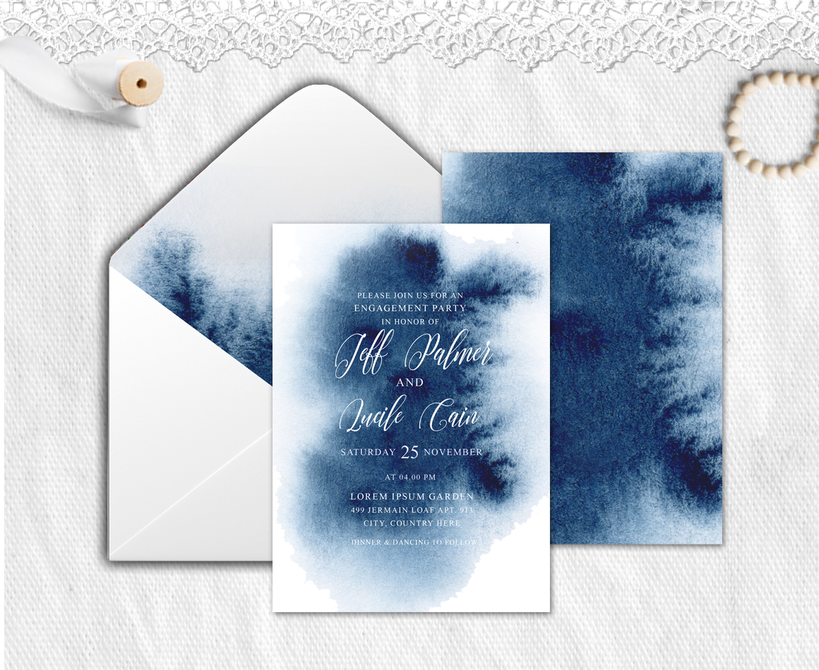 Indigo Watercolor Wedding Invitation suite example image 3