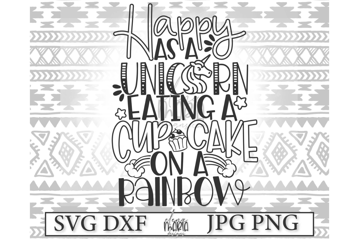Unicorn SVG File | Cupcake And Rainbows Svg example image 2