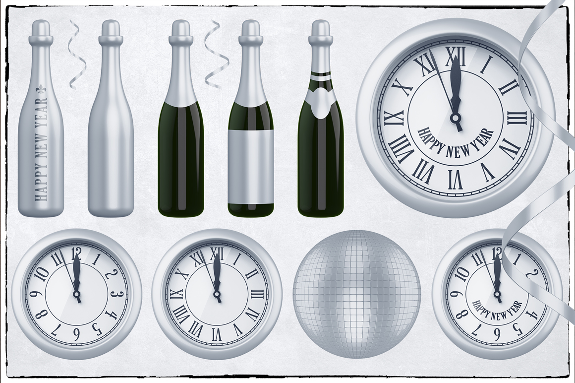 New Year 3D PNG Items Pack example image 16