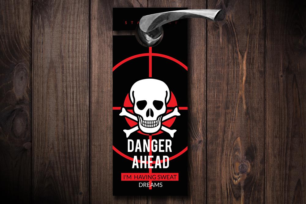 Danger Ahead Door Hangers example image 1