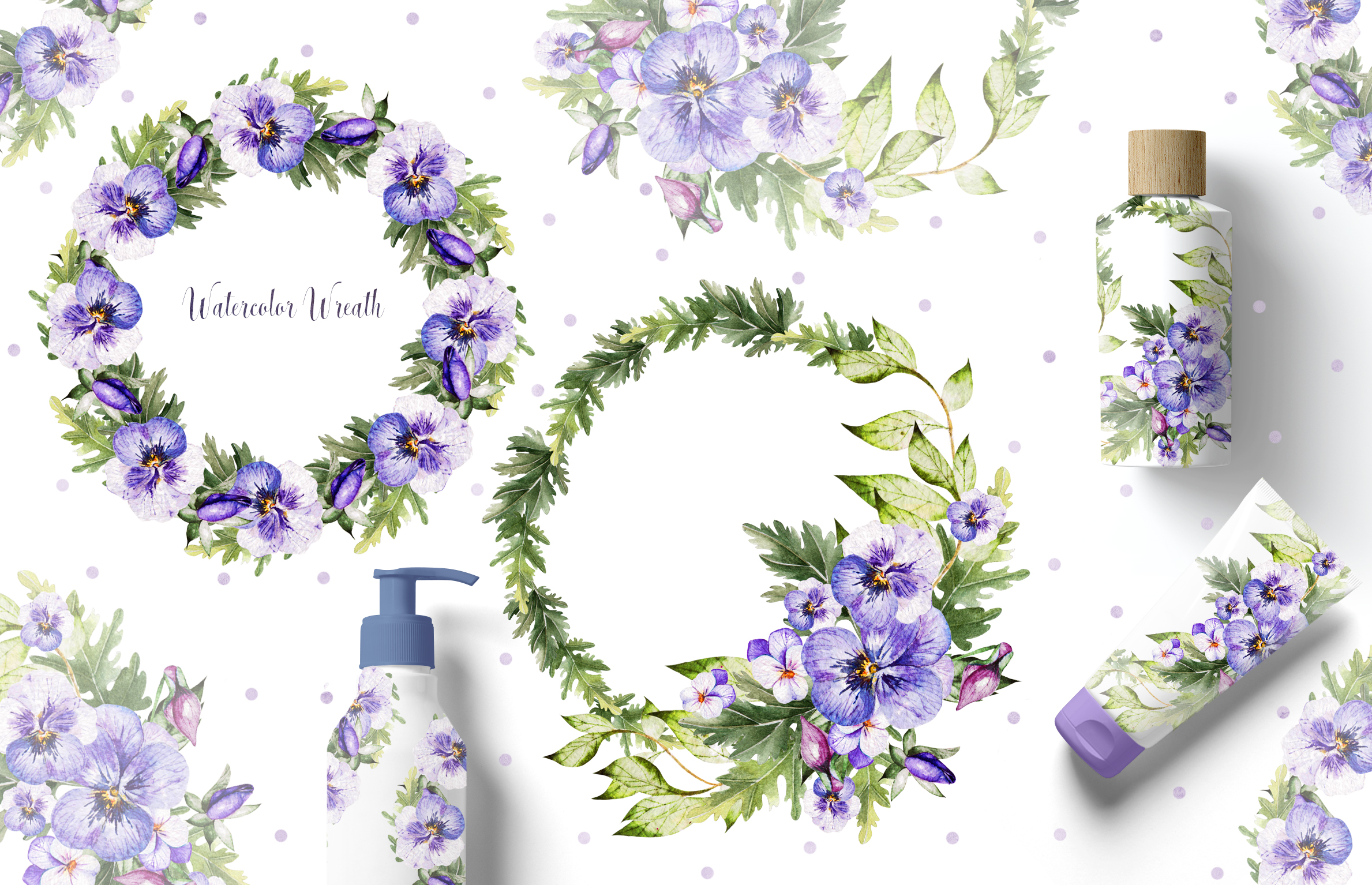 Watercolor PANSY FLOWERS example image 9