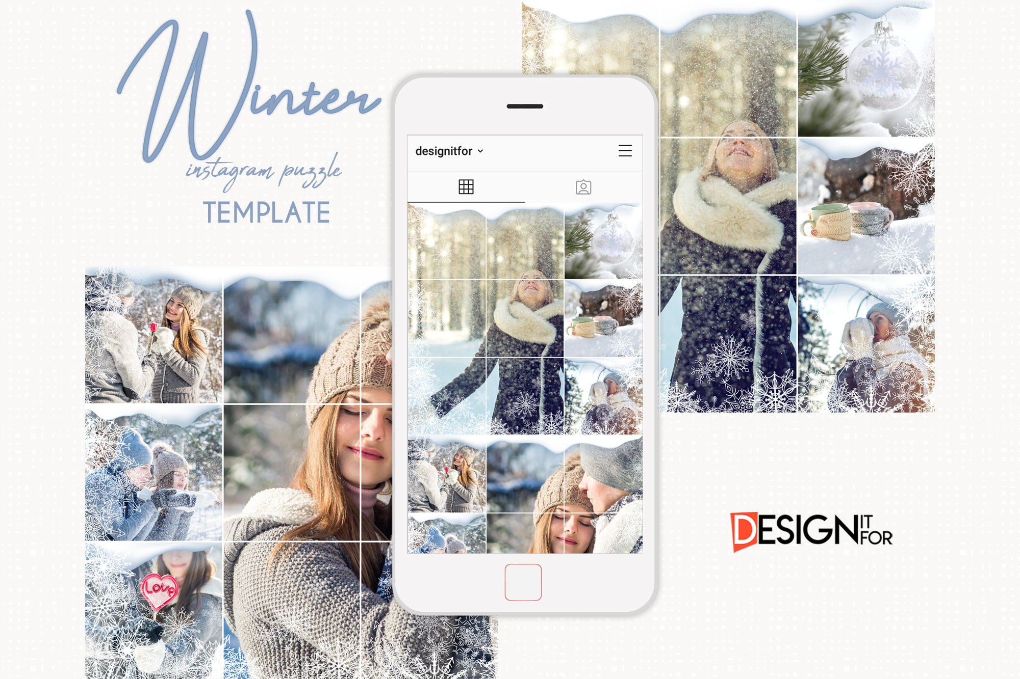 Winter Instagram Puzzle Template, Post Template example image 1