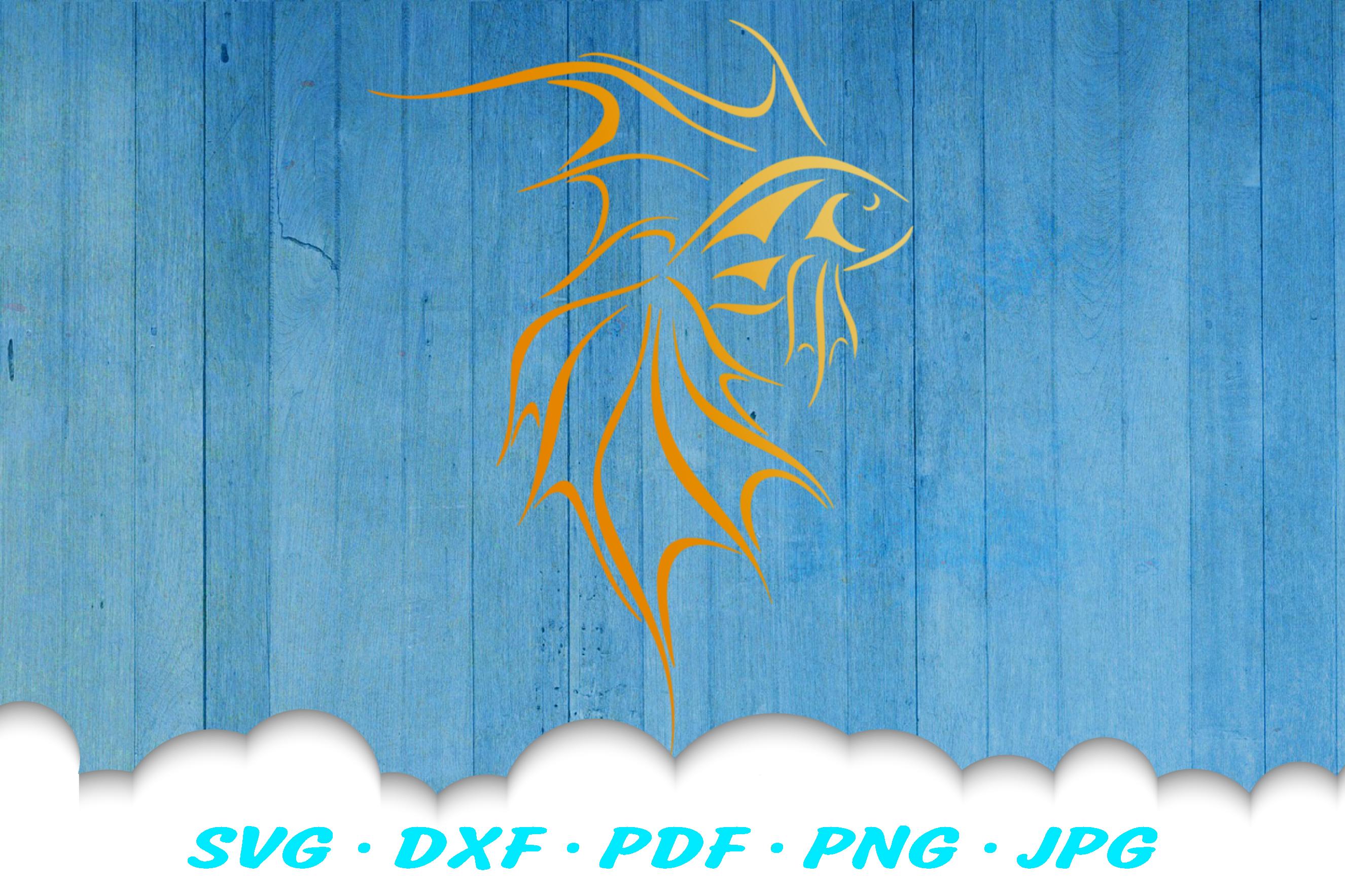 Tribal Goldfish Fish SVG DXF Cut Files example image 3