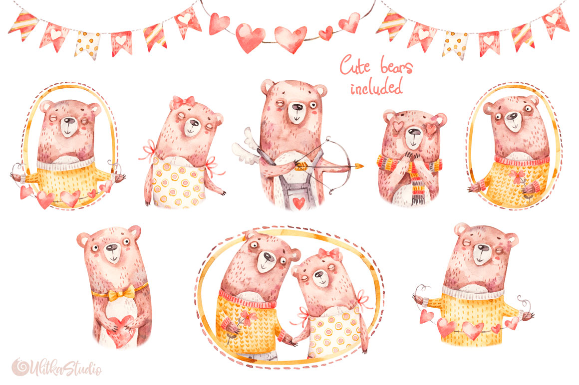 Cozy Valentines Day. Lovely bears watercolor collection example image 9
