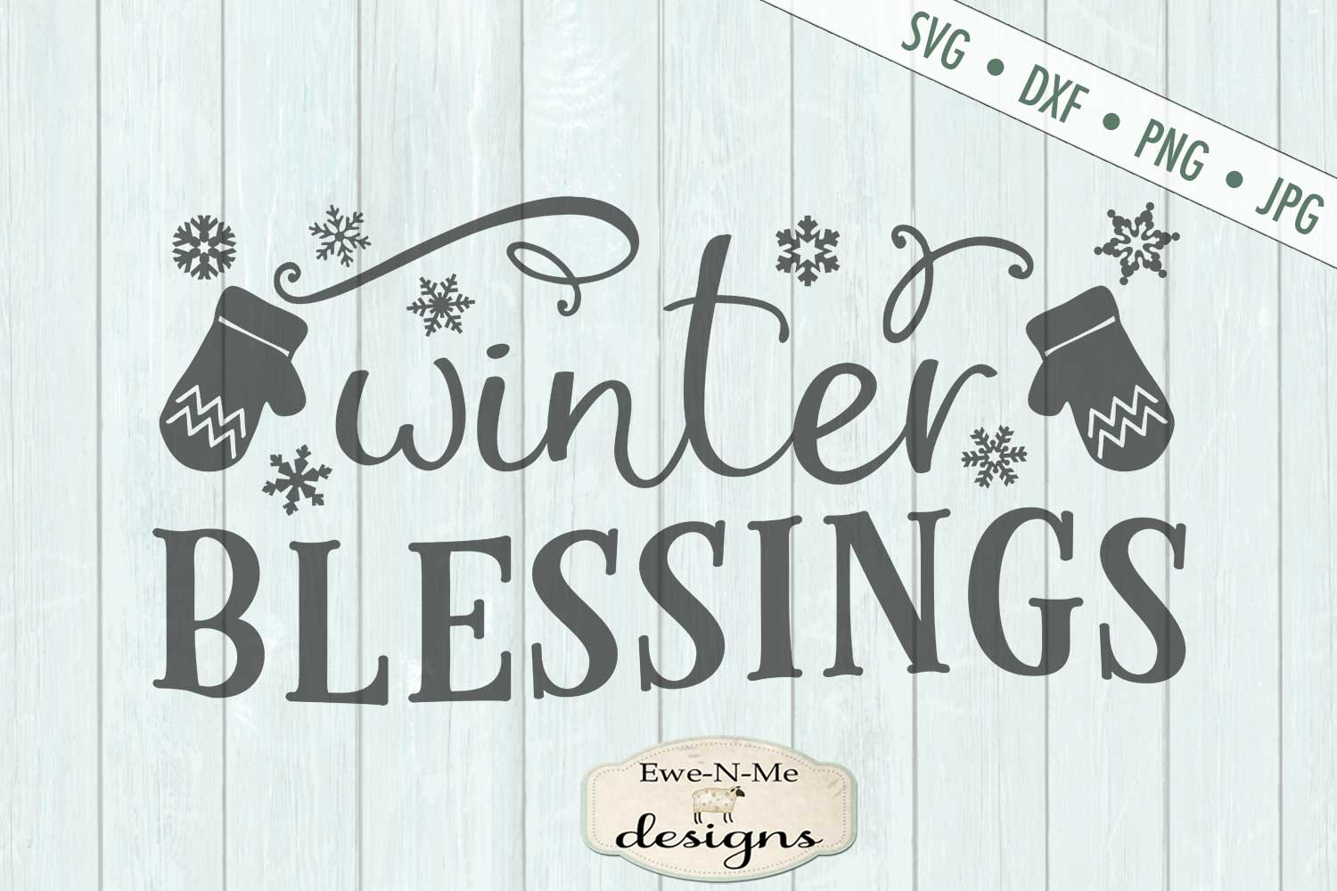 Winter Blessings - Mittens - SVG DXF Files example image 2