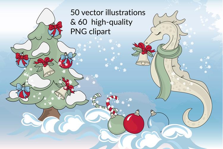 CHRISTMAS MERMAID Vector Illustration Set example image 4