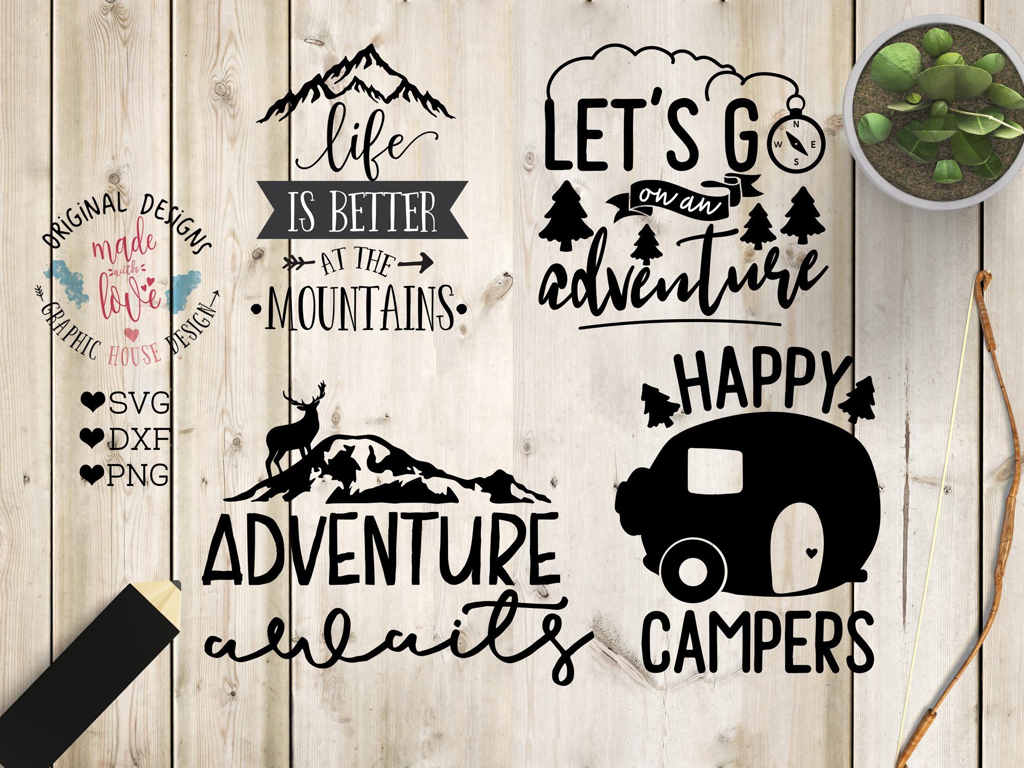 Adventure/Camping Cutting Files Bundle SVG, DXF, PNG example image 2