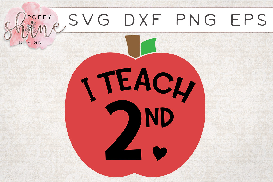 I Teach 2nd SVG PNG EPS DXF Cutting Files example image 1