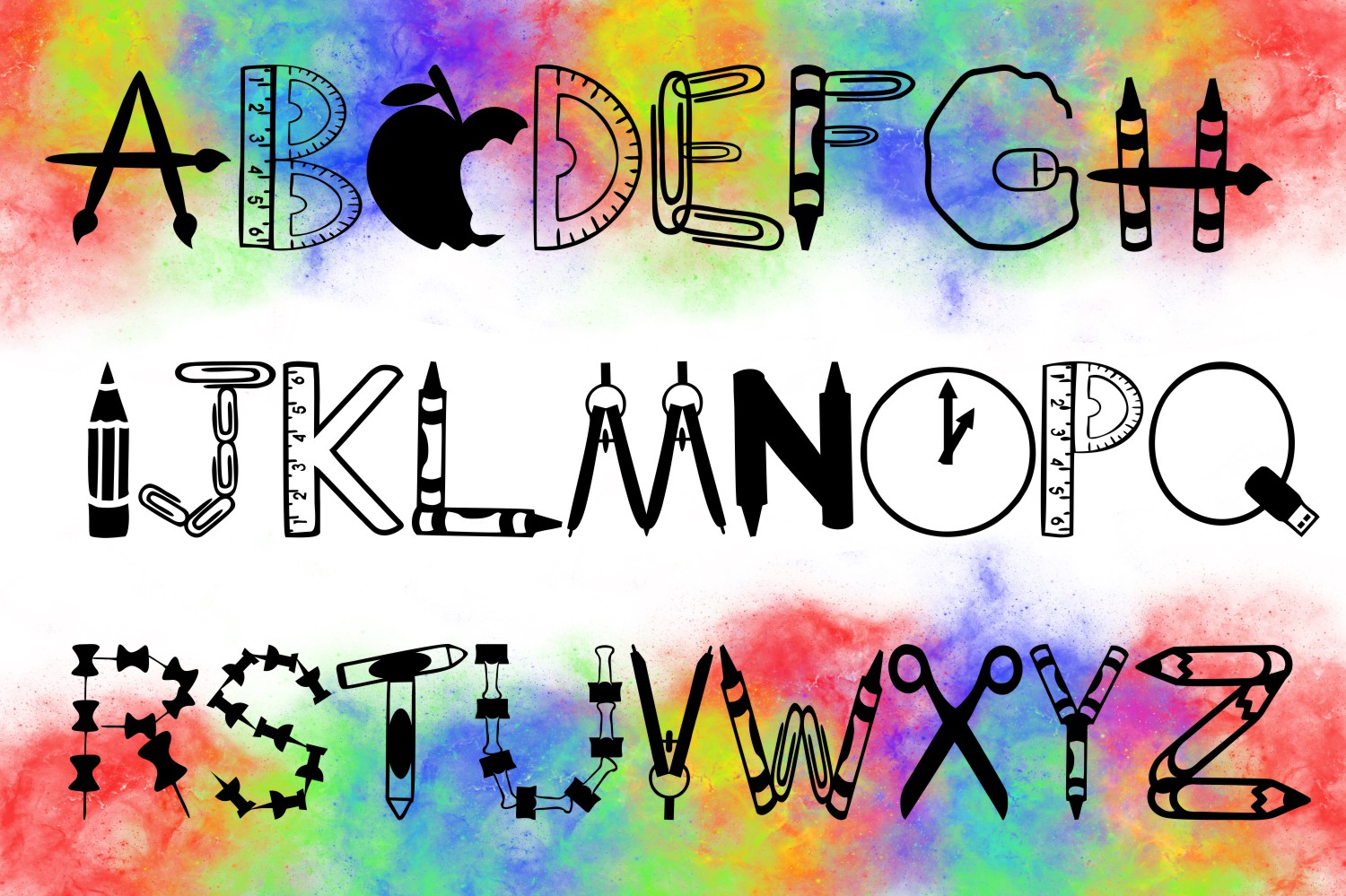 School Font -- Letters Made from School Supplies example image 2
