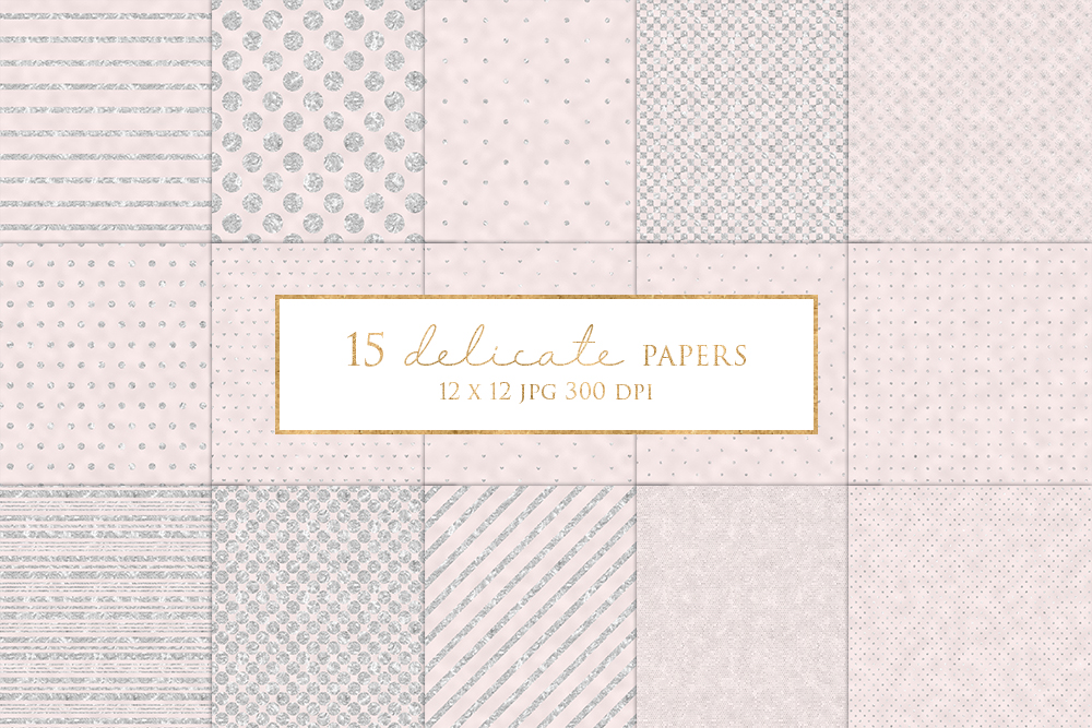 15 Silver and Pink Digital Paper Pack example image 1