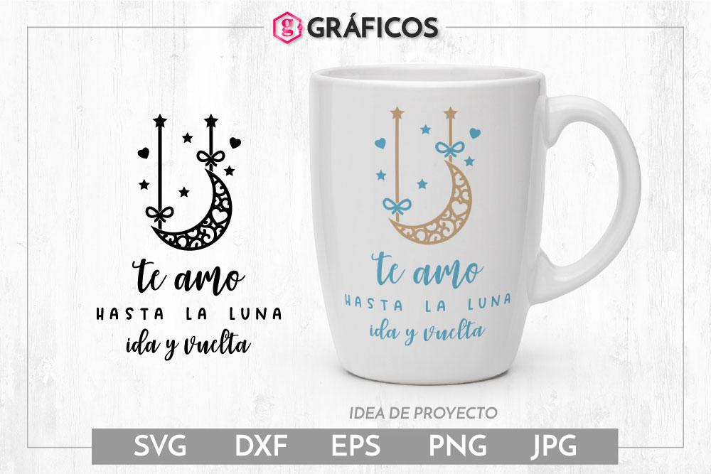 Te amo hasta la luna SVG - Frase San Valentín - Luna mandala example image 1