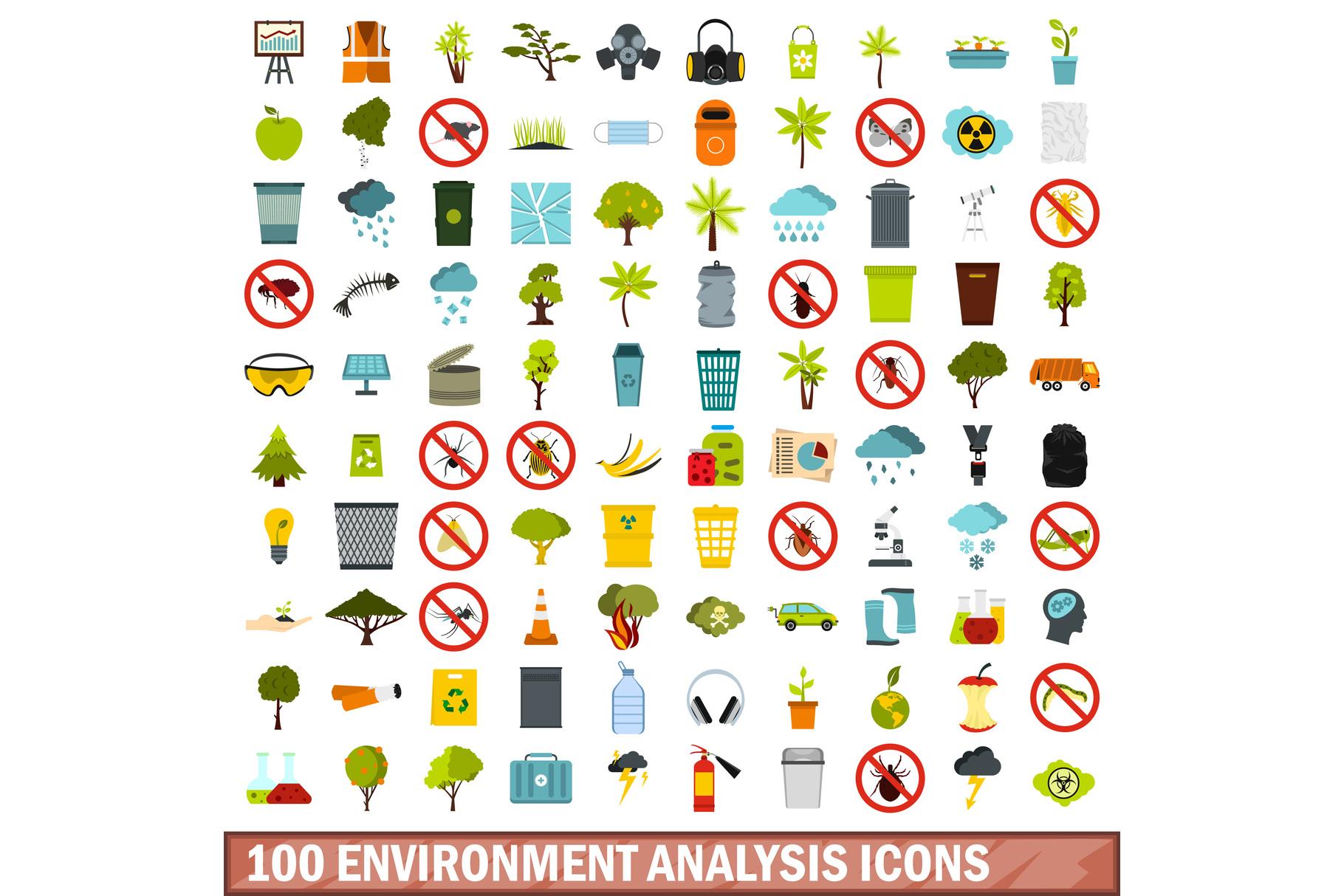 100 environment analysis icons set, flat style example image 1