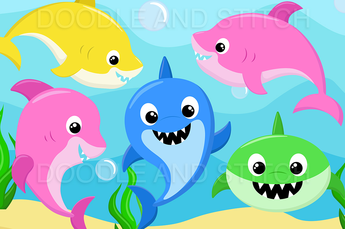 Shark Family Clipart Designs example image 1