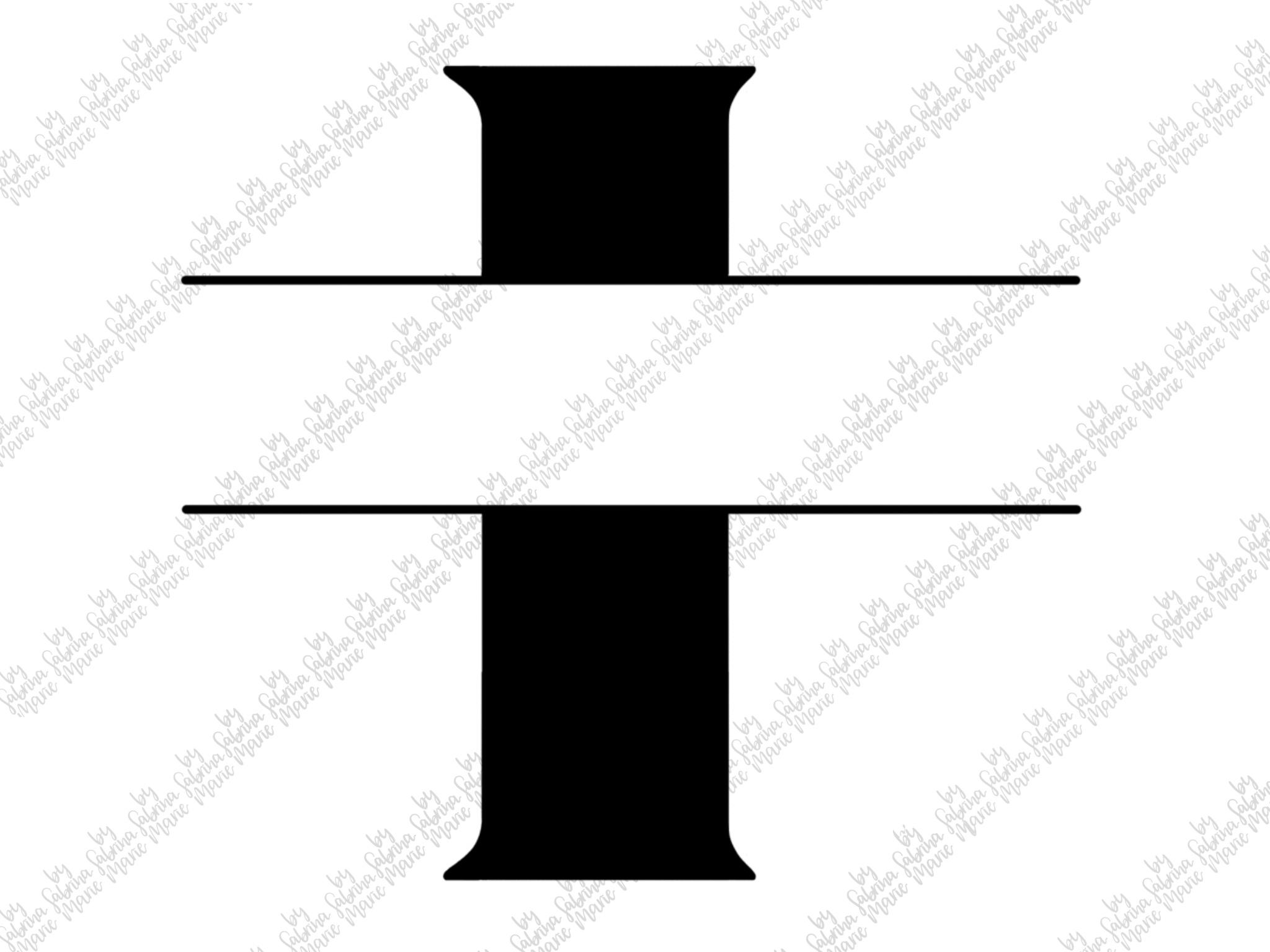 Split Monogram I - Handdrawn - SVG/PNG example image 2