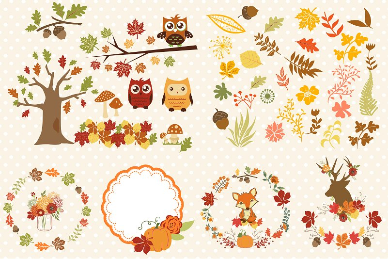 Autumn Clipart Bundle - 138 cliparts Eps and PNG example image 2