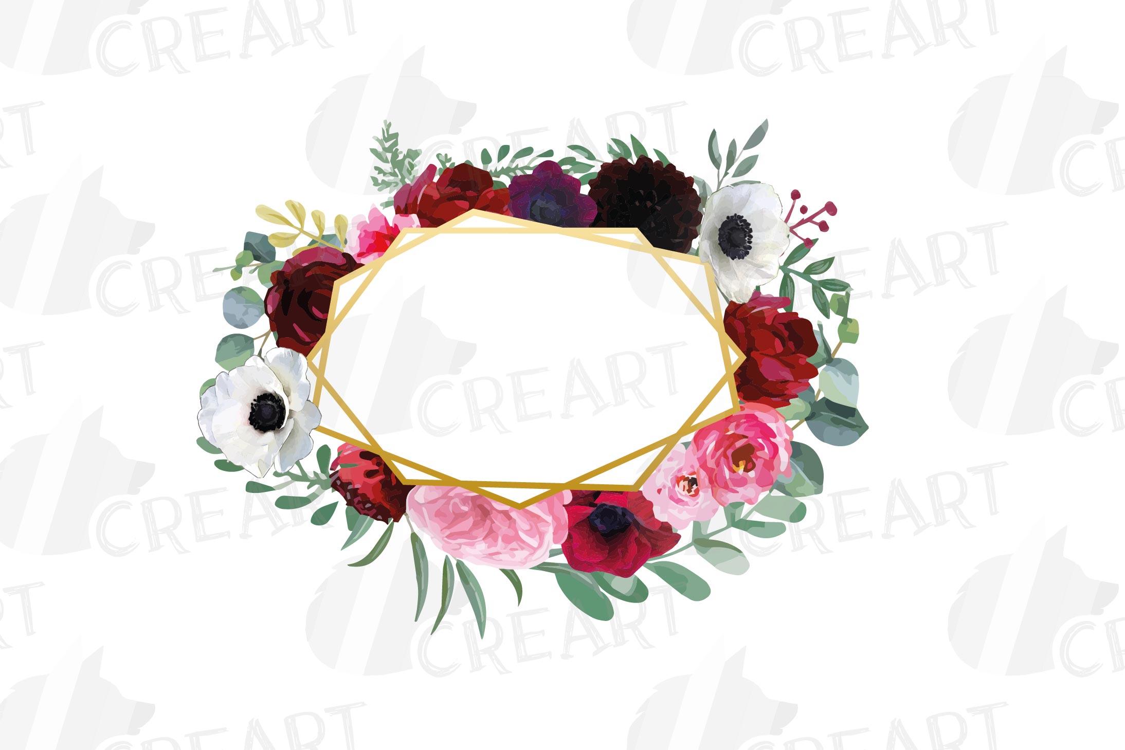 Watercolor elegant floral borders, rose, anemone frames example image 8