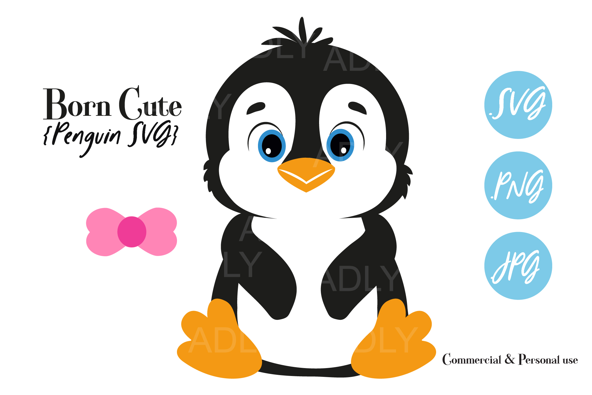 Baby Penguin Gender Neutral Bow Tie Clipart Svg Png Birthday
