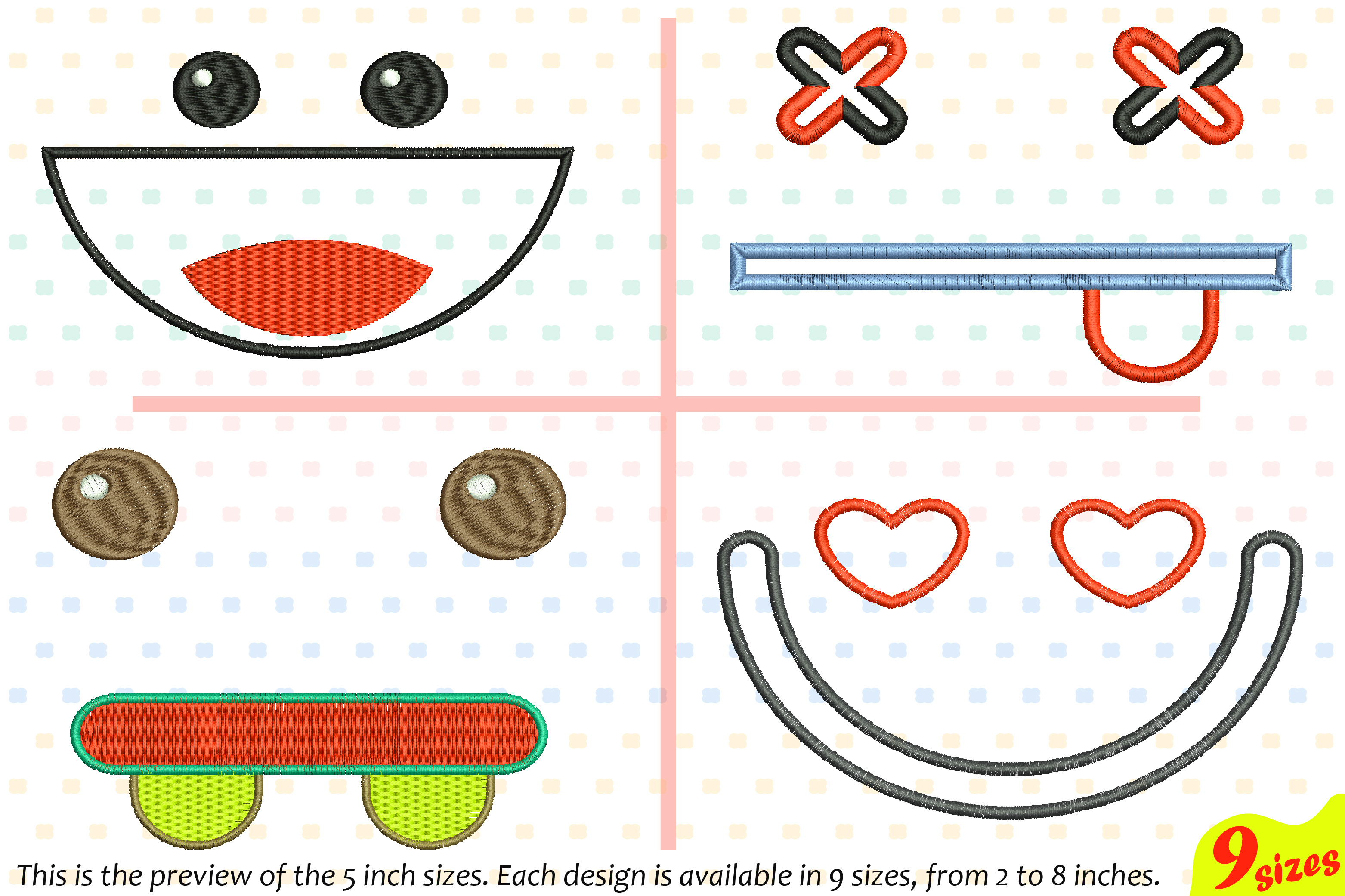 Cute Emoji Embroidery Design Machine Instant Download Commercial Use digital file icon symbol sign emoticons smile Kawaii Expression 185b example image 1
