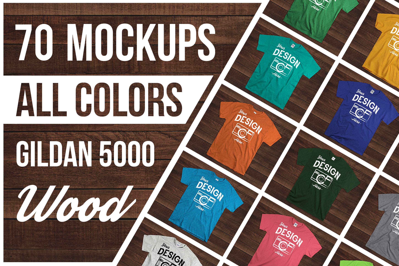 Wooden Background 70 Color Gildan Tshirt Mockup Bundle example image 1