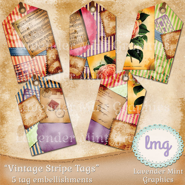 Vintage Stripe Scrapbook Journal Tags example image 2