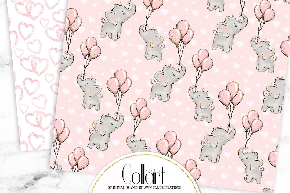 Elephant digital paper, baby girl papers, seamless patterns example image 8