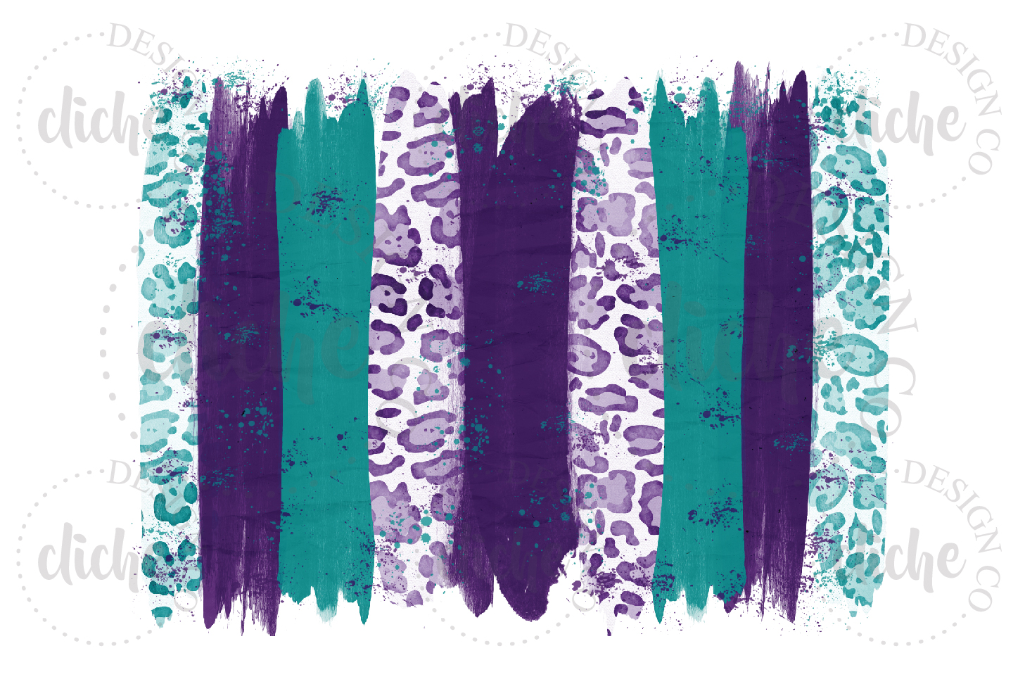 Purple Teal Paint Stroke Sublimation Design Background example image 1