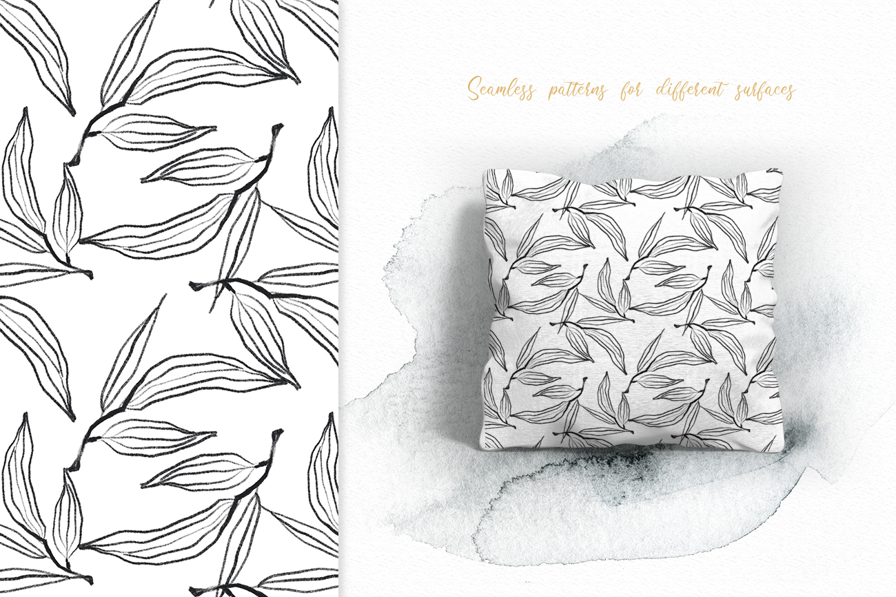 Flower and leaves sketch patterns, Seamless backgrounds example image 6