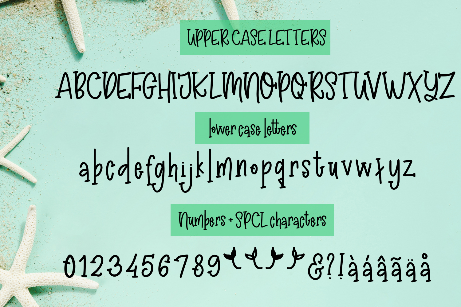 Madison's tail - A mermaid font plus nautical doodles example image 2