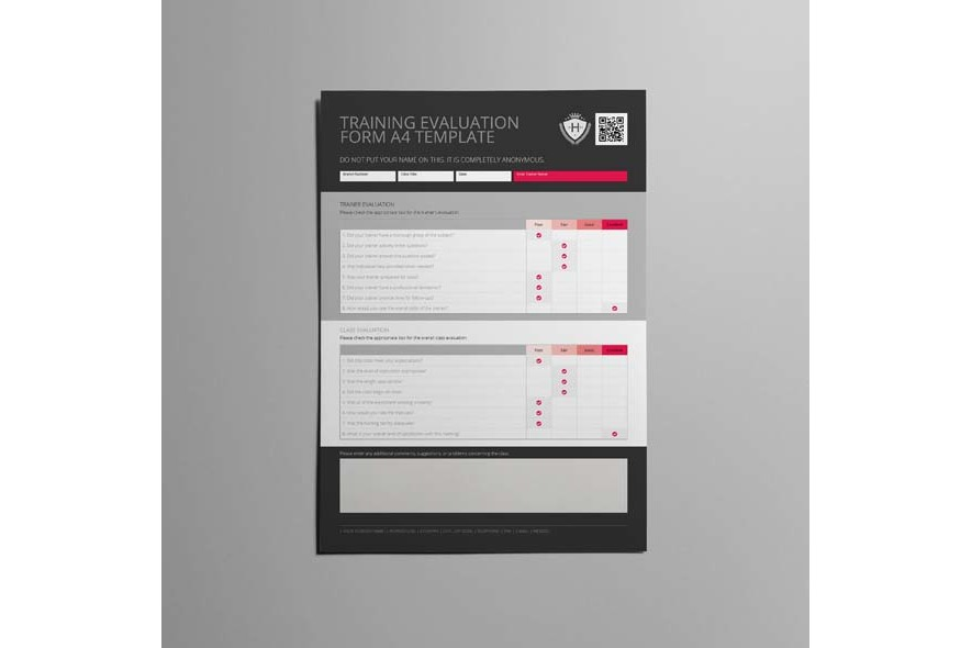 Training Evaluation Form A4 Template example image 5