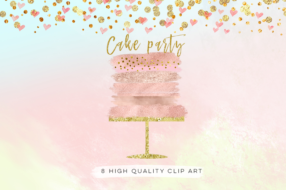 cake parose gold cake clip art,rty clip art, confetti cake party clip art, Birthday clipart set watercolor, gold foil, rose gold wedding example image 3