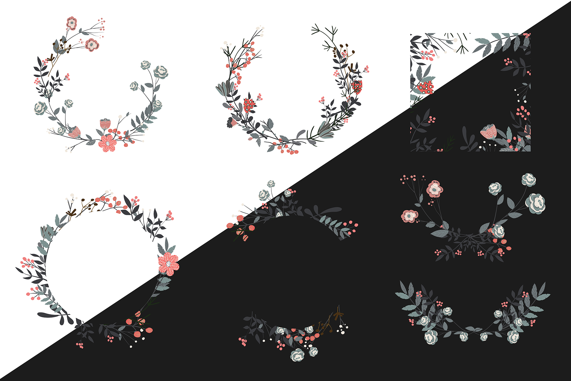 Hand drawn set of different floral vector leaves, example image 2
